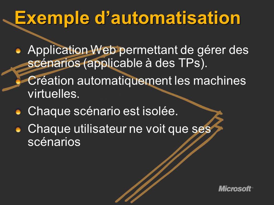 Exemple dautomatisation Application Web permettant de gérer des scénarios (applicable à des TPs). Création automatiquement les machines virtuelles. Ch