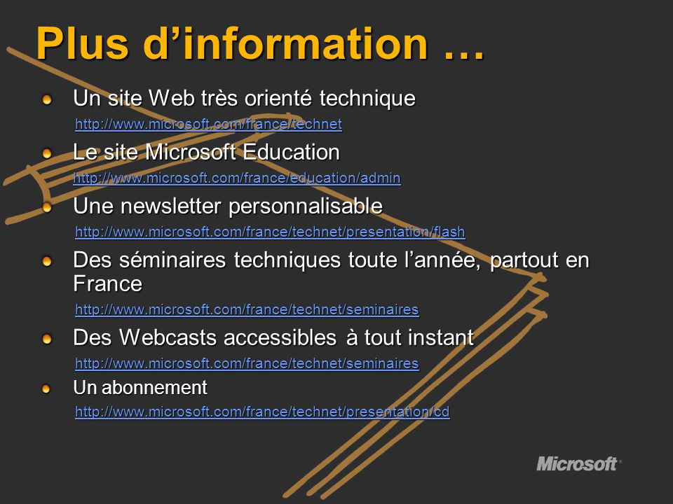 Plus dinformation … Un site Web très orienté technique http://www.microsoft.com/france/technet Le site Microsoft Education http://www.microsoft.com/fr