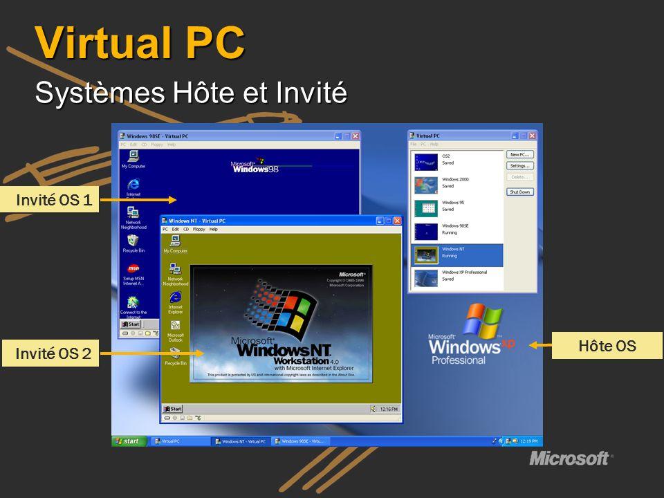 Hôte OS Invité OS 1 Invité OS 2 Virtual PC Systèmes Hôte et Invité