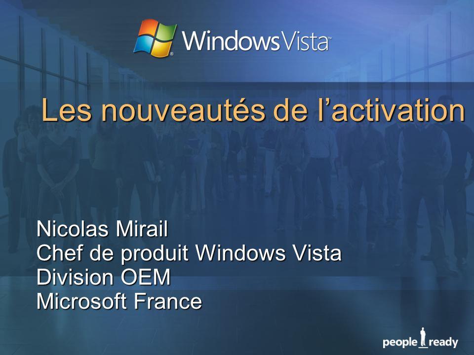 Les nouveautés de lactivation Nicolas Mirail Chef de produit Windows Vista Division OEM Microsoft France