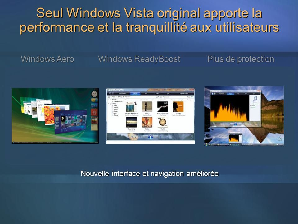 Nouvelle interface et navigation améliorée Windows Aero Windows ReadyBoost Plus de protection Seul Windows Vista original apporte la performance et la