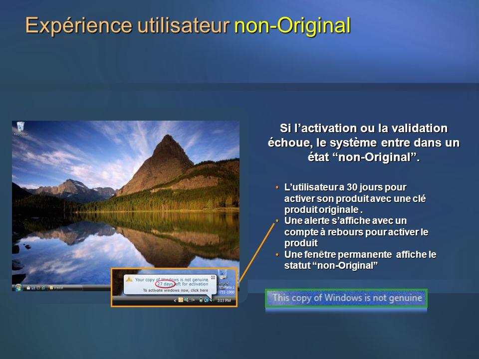Expérience utilisateur non-Original Lutilisateur a 30 jours pour activer son produit avec une clé produit originale.Lutilisateur a 30 jours pour activ