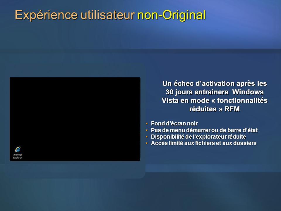 Un échec dactivation après les 30 jours entrainera Windows Vista en mode « fonctionnalités réduites » RFM Fond décran noirFond décran noir Pas de menu