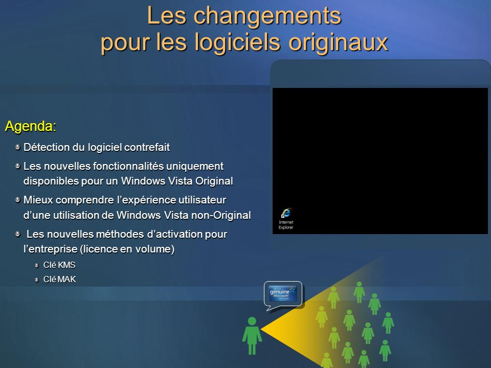 Les changements pour les logiciels originaux Agenda: Détection du logiciel contrefait Les nouvelles fonctionnalités uniquement disponibles pour un Win