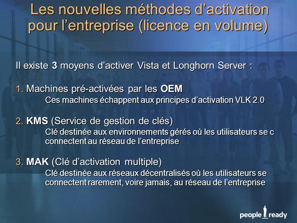 Il existe 3 moyens dactiver Vista et Longhorn Server : 1. Machines pré-activées par les OEM Ces machines échappent aux principes dactivation VLK 2.0 2