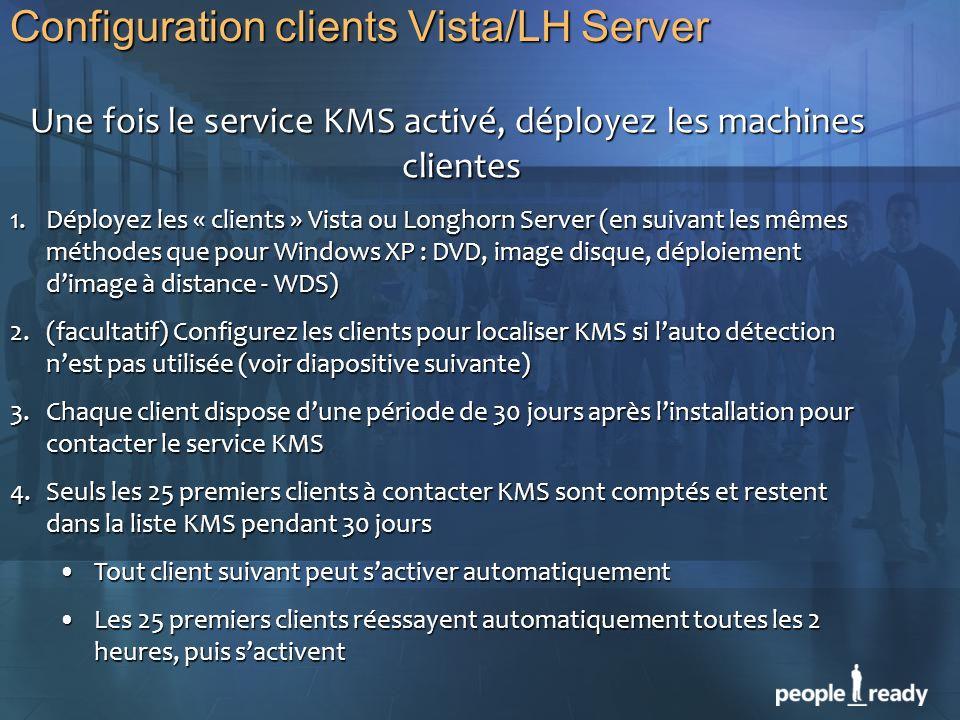 Configuration clients Vista/LH Server Une fois le service KMS activé, déployez les machines clientes Une fois le service KMS activé, déployez les mach