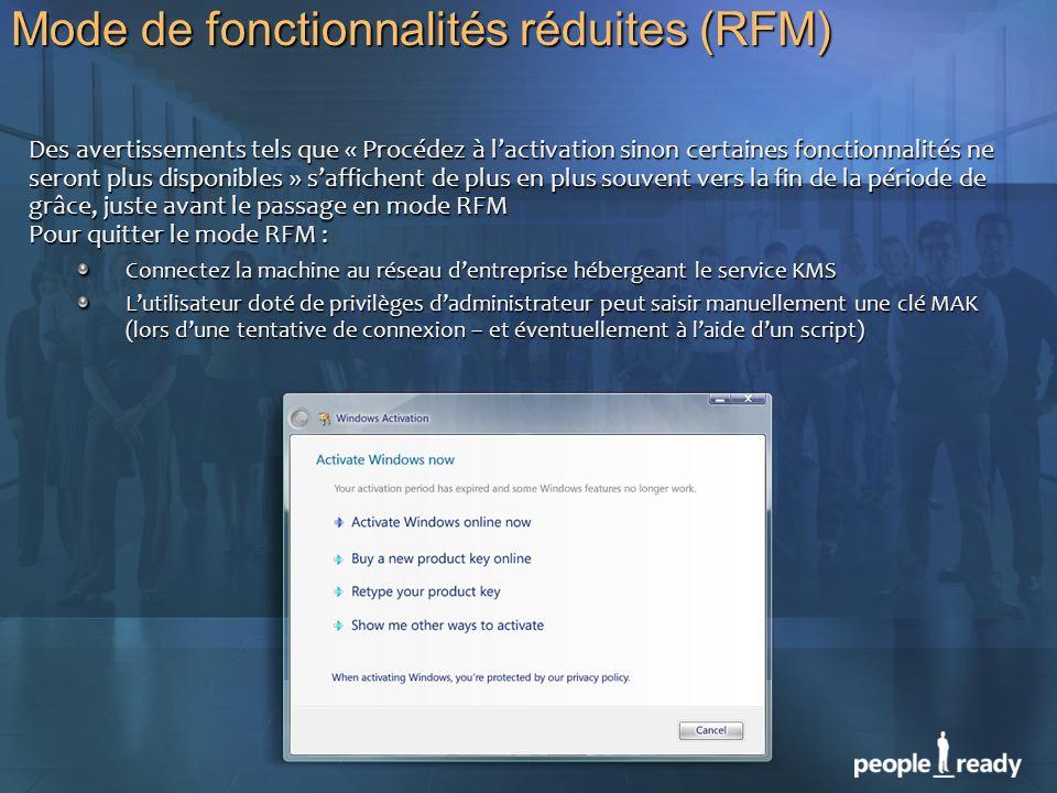 Mode de fonctionnalités réduites (RFM) Des avertissements tels que « Procédez à lactivation sinon certaines fonctionnalités ne seront plus disponibles