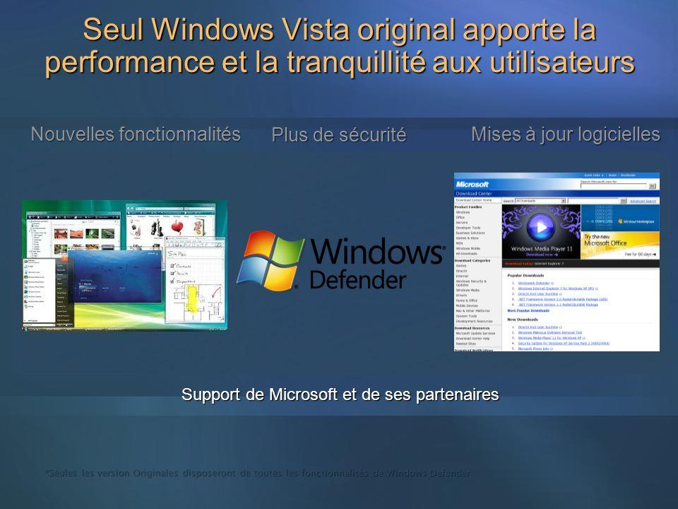 Support de Microsoft et de ses partenaires Nouvelles fonctionnalités Plus de sécurité Mises à jour logicielles *Seules les version Originales disposer