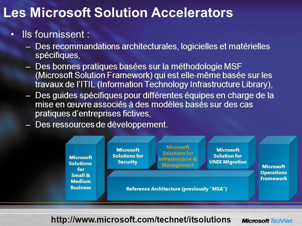 Les Microsoft Solution Accelerators Ils fournissent : –Des recommandations architecturales, logicielles et matérielles spécifiques, –Des bonnes pratiq