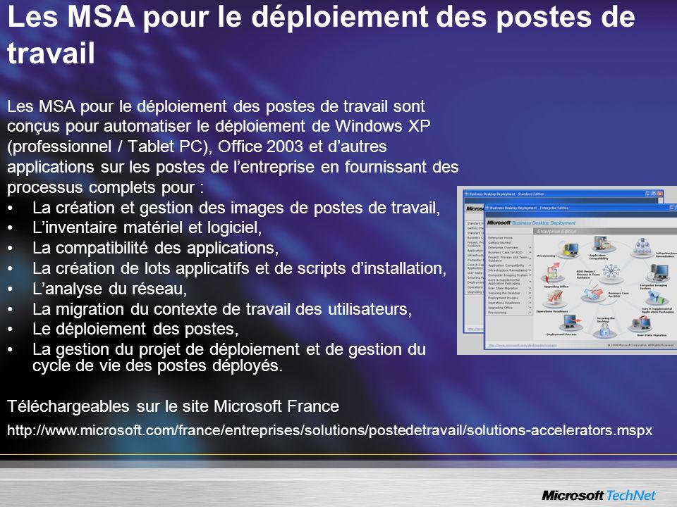 Les MSA pour le déploiement des postes de travail Les MSA pour le déploiement des postes de travail sont conçus pour automatiser le déploiement de Win