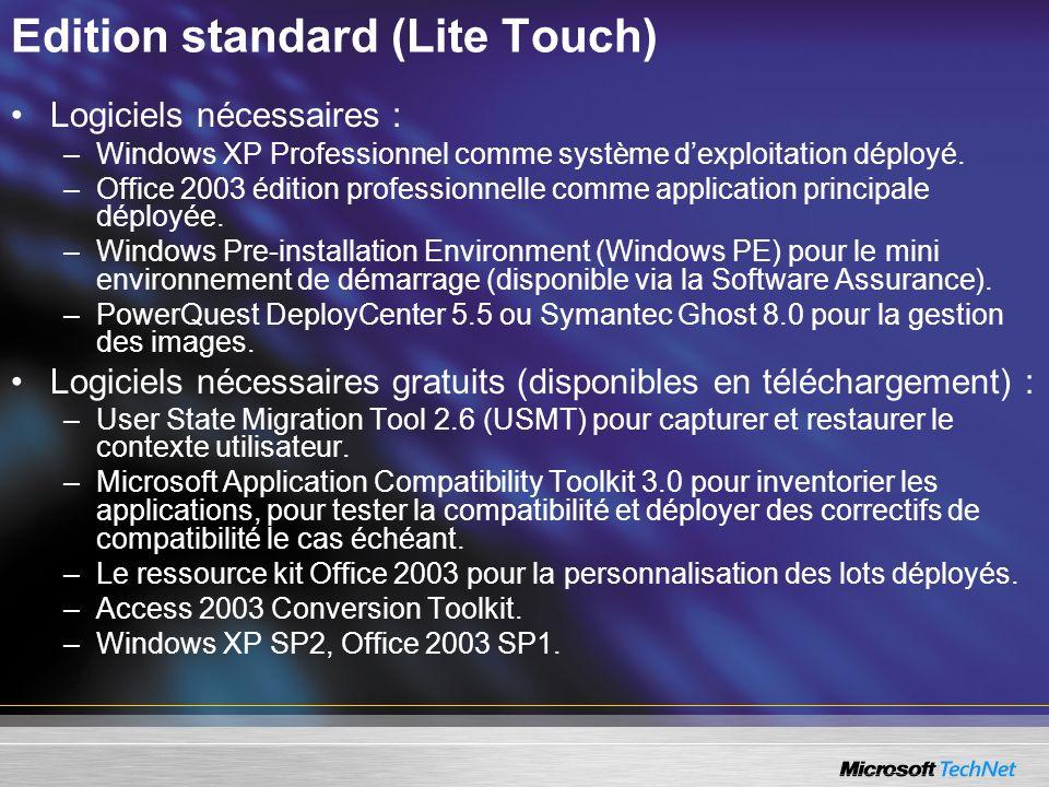 Edition standard (Lite Touch) Logiciels nécessaires : –Windows XP Professionnel comme système dexploitation déployé. –Office 2003 édition professionne