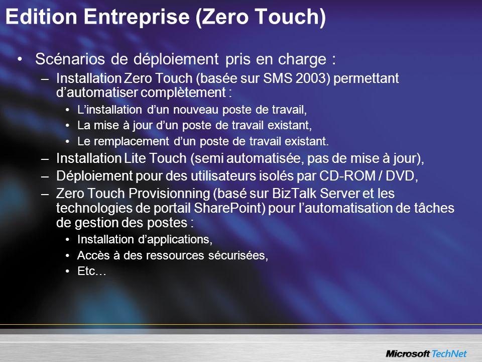 Edition Entreprise (Zero Touch) Scénarios de déploiement pris en charge : –Installation Zero Touch (basée sur SMS 2003) permettant dautomatiser complè
