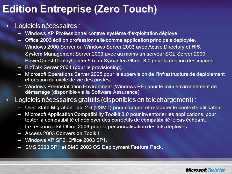 Edition Entreprise (Zero Touch) Logiciels nécessaires : –Windows XP Professionnel comme système dexploitation déployé. –Office 2003 édition profession