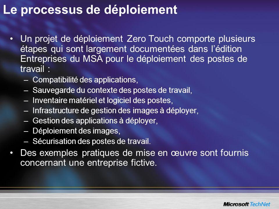 Le processus de déploiement Un projet de déploiement Zero Touch comporte plusieurs étapes qui sont largement documentées dans lédition Entreprises du