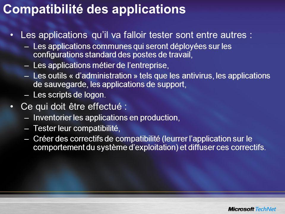 Compatibilité des applications Les applications quil va falloir tester sont entre autres : –Les applications communes qui seront déployées sur les con