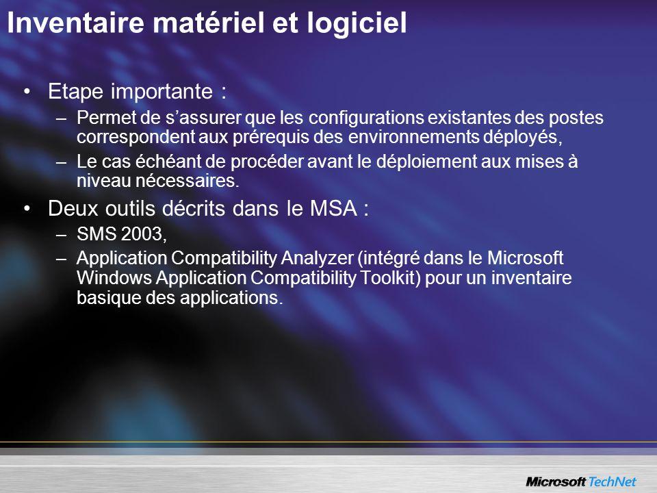 Inventaire matériel et logiciel Etape importante : –Permet de sassurer que les configurations existantes des postes correspondent aux prérequis des en