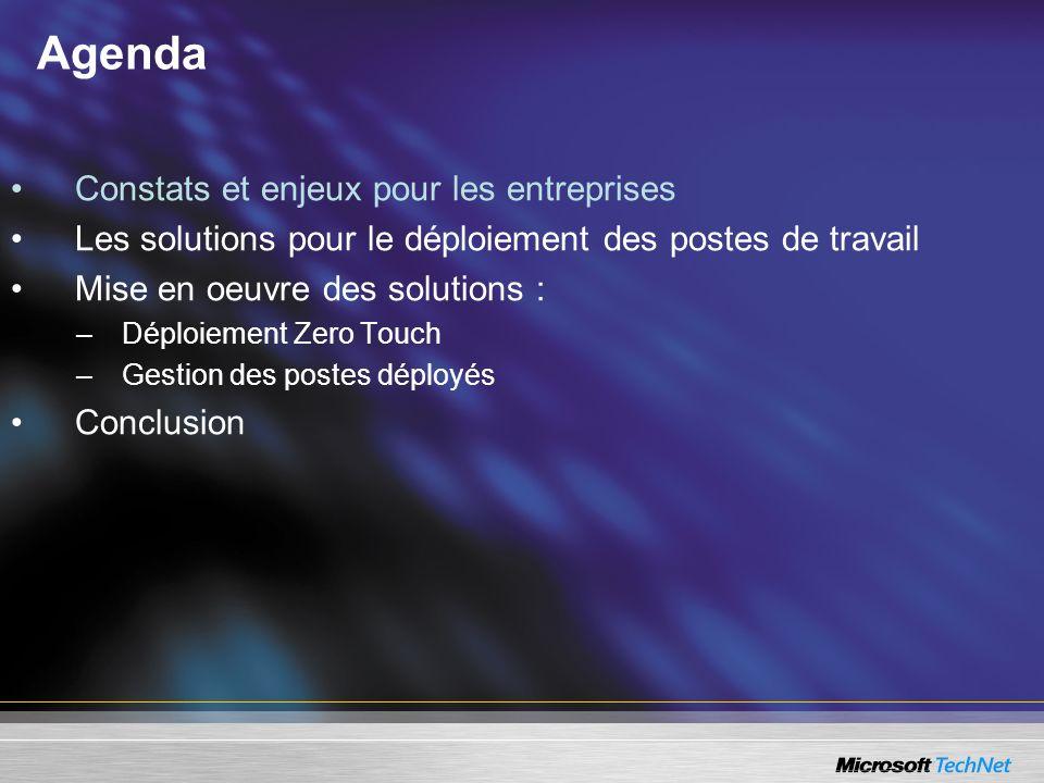 User State Migration Tool 2.6 Outil gratuit Microsoft Windows User State Migration Tool (USMT) 2.6 : –Analyse les postes qui doivent être mis à jour, –Sauvegarde sur un serveur les données et paramètres personnalisés (systèmes et applicatifs) des utilisateurs.