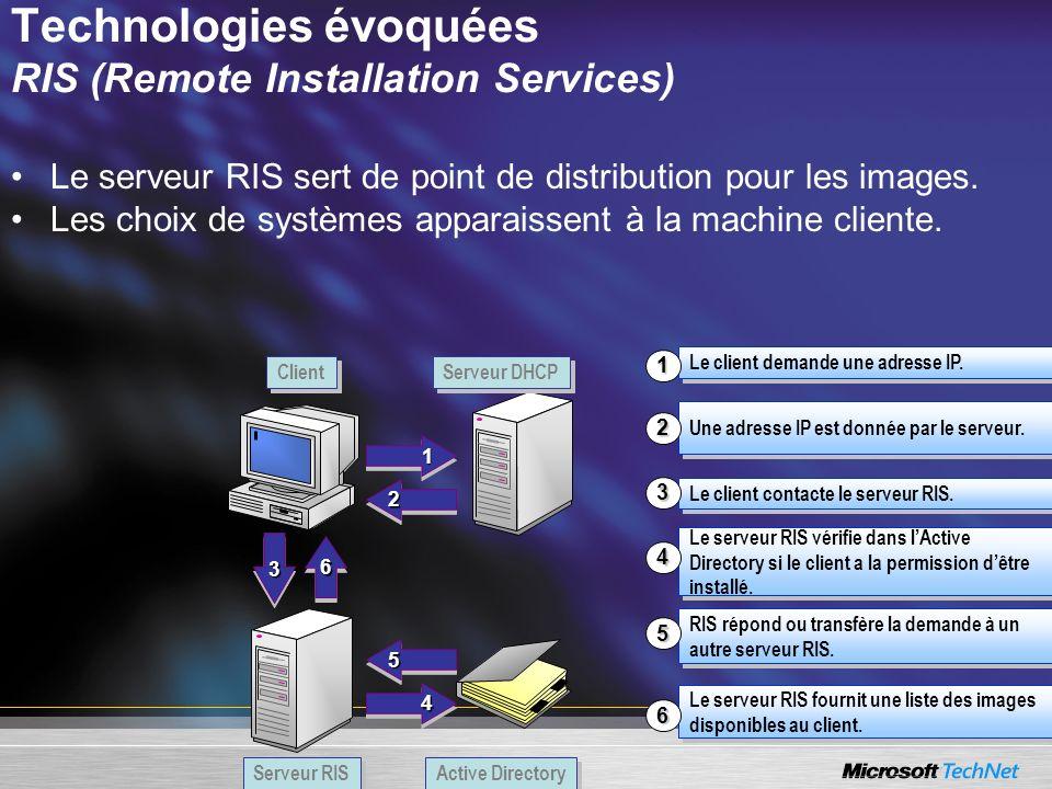 Technologies évoquées RIS (Remote Installation Services) Le serveur RIS sert de point de distribution pour les images. Les choix de systèmes apparaiss