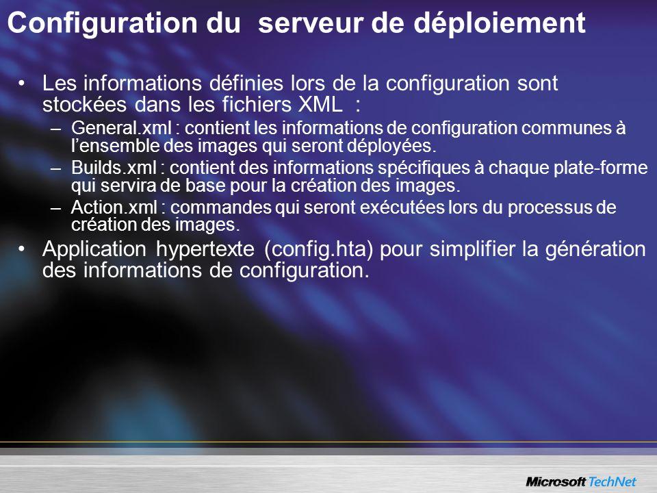 Configuration du serveur de déploiement Les informations définies lors de la configuration sont stockées dans les fichiers XML : –General.xml : contie