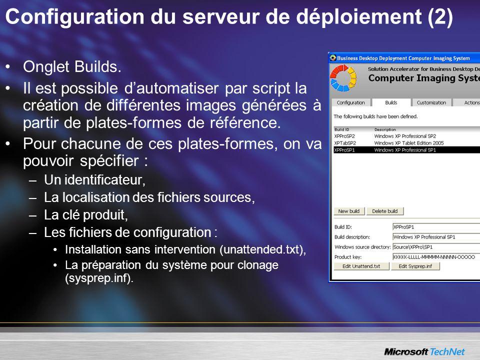 Configuration du serveur de déploiement (2) Onglet Builds. Il est possible dautomatiser par script la création de différentes images générées à partir