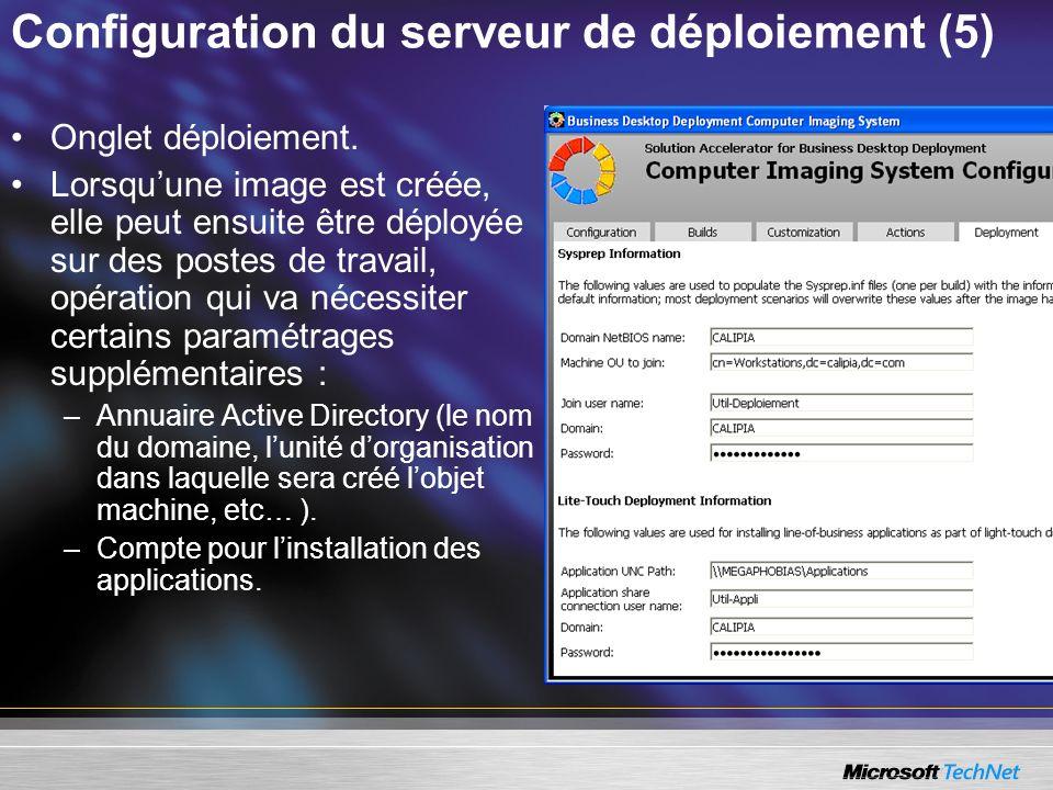 Configuration du serveur de déploiement (5) Onglet déploiement. Lorsquune image est créée, elle peut ensuite être déployée sur des postes de travail,
