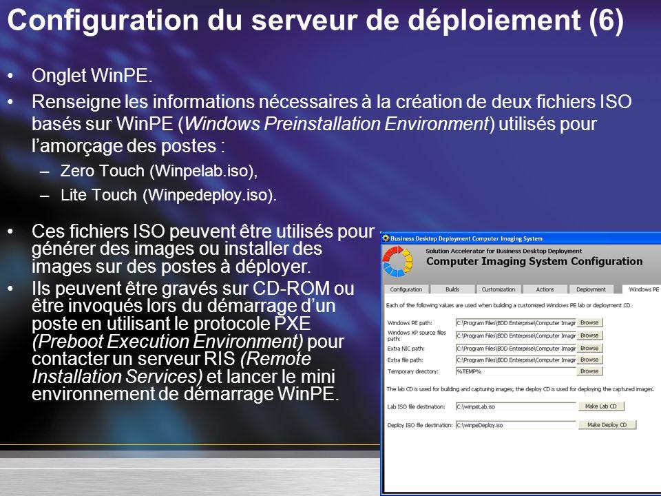 Configuration du serveur de déploiement (6) Onglet WinPE. Renseigne les informations nécessaires à la création de deux fichiers ISO basés sur WinPE (W