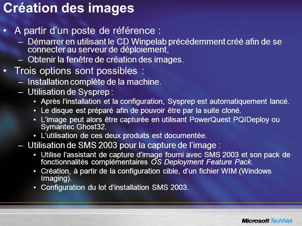 Création des images A partir dun poste de référence : –Démarrer en utilisant le CD Winpelab précédemment créé afin de se connecter au serveur de déplo
