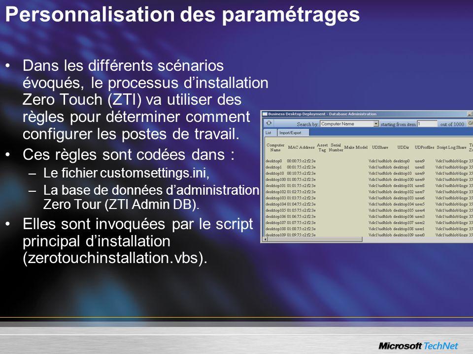 Personnalisation des paramétrages Dans les différents scénarios évoqués, le processus dinstallation Zero Touch (ZTI) va utiliser des règles pour déter