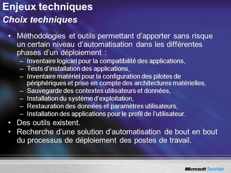 Configuration du serveur de déploiement Les informations définies lors de la configuration sont stockées dans les fichiers XML : –General.xml : contient les informations de configuration communes à lensemble des images qui seront déployées.