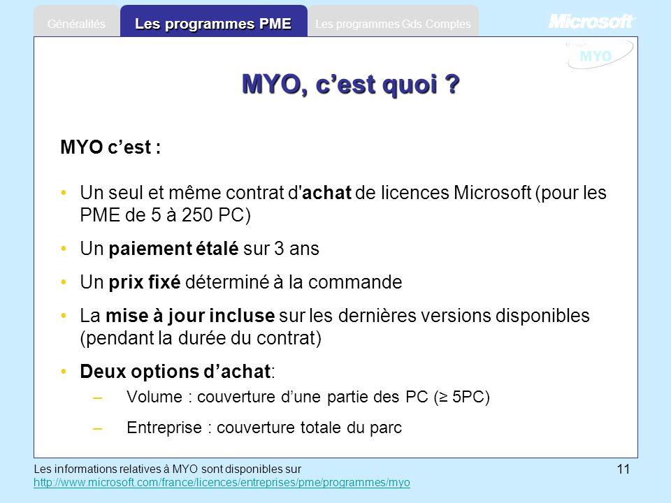 11 Les programmes Gds ComptesGénéralités Les programmes PME MYO, cest quoi ? MYO cest : Un seul et même contrat d'achat de licences Microsoft (pour le