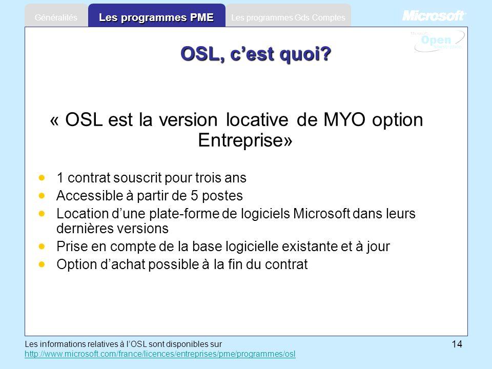 14 Les programmes Gds ComptesGénéralités Les programmes PME « OSL est la version locative de MYO option Entreprise» 1 contrat souscrit pour trois ans