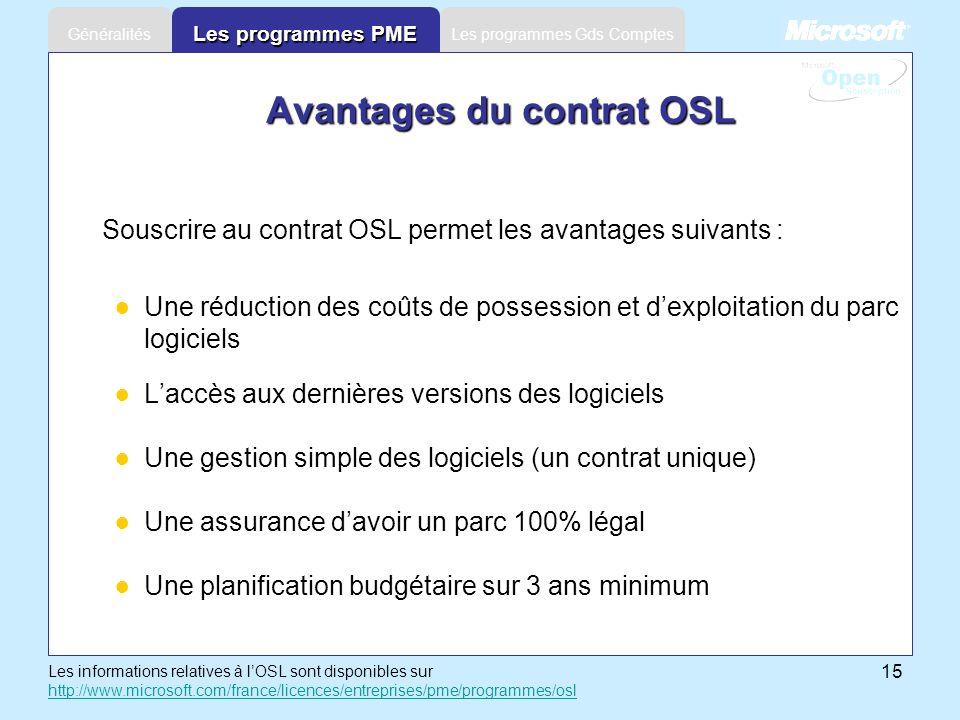 15 Les programmes Gds ComptesGénéralités Les programmes PME Avantages du contrat OSL Souscrire au contrat OSL permet les avantages suivants : Une rédu