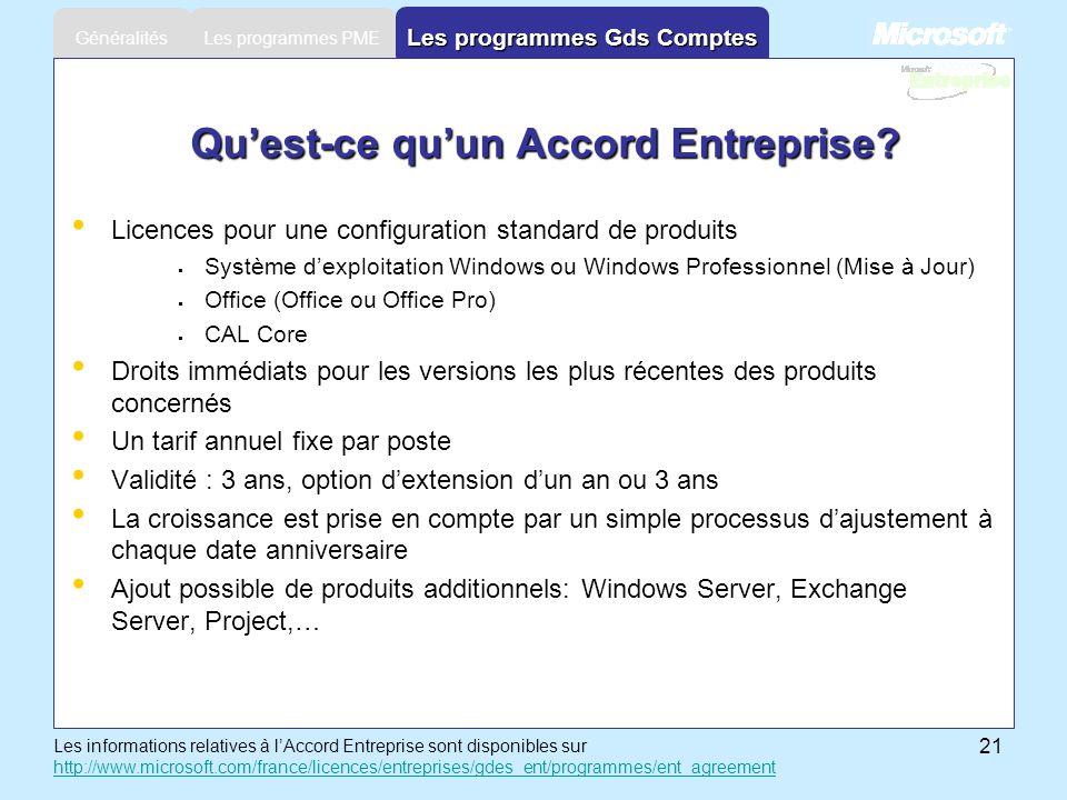 21 Les programmes PME Généralités Les programmes Gds Comptes Quest-ce quun Accord Entreprise? Licences pour une configuration standard de produits Sys