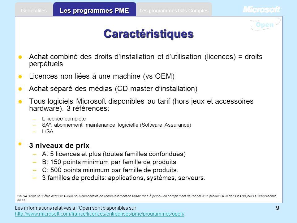 9 Les programmes Gds ComptesGénéralités Les programmes PME Achat combiné des droits dinstallation et dutilisation (licences) = droits perpétuels Licen