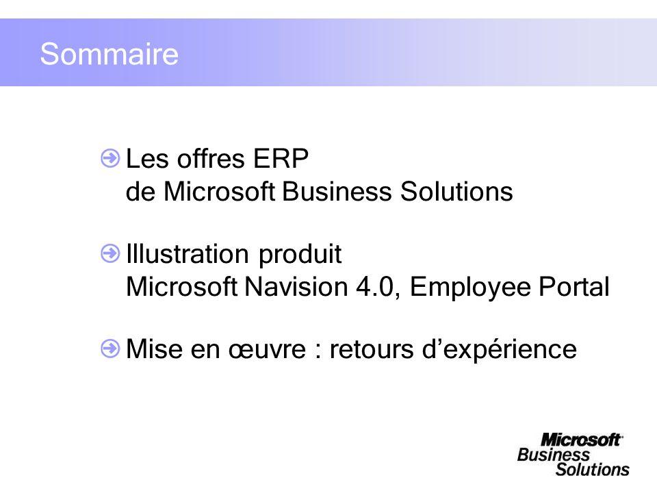 Sommaire Les offres ERP de Microsoft Business Solutions Illustration produit Microsoft Navision 4.0, Employee Portal Mise en œuvre : retours dexpérien