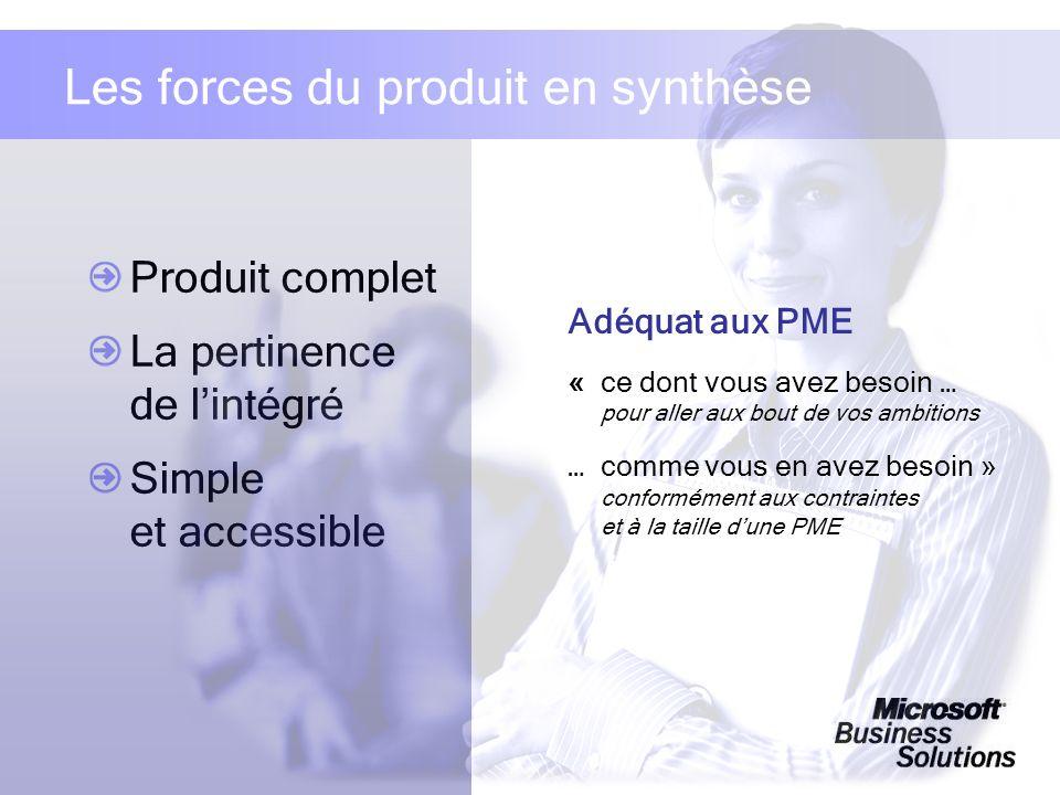 Produit complet La pertinence de lintégré Simple et accessible Les forces du produit en synthèse Adéquat aux PME «ce dont vous avez besoin … pour alle