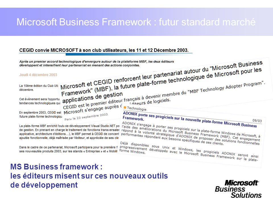Microsoft Business Framework : futur standard marché MS Business framework : les éditeurs misent sur ces nouveaux outils de développement