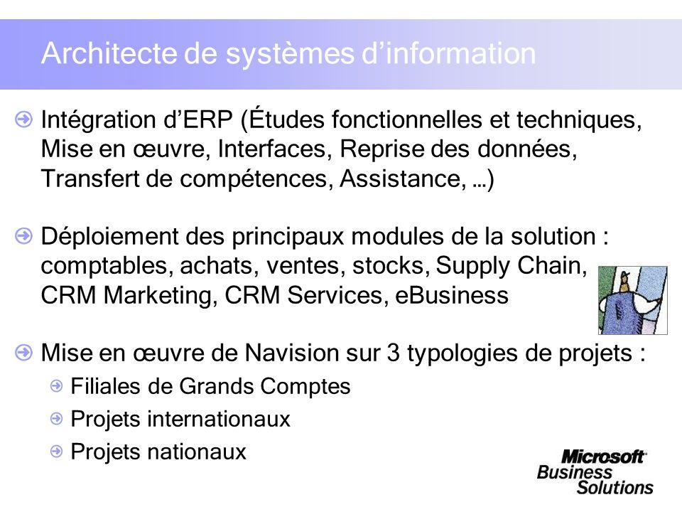 Architecte de systèmes dinformation Intégration dERP (Études fonctionnelles et techniques, Mise en œuvre, Interfaces, Reprise des données, Transfert d
