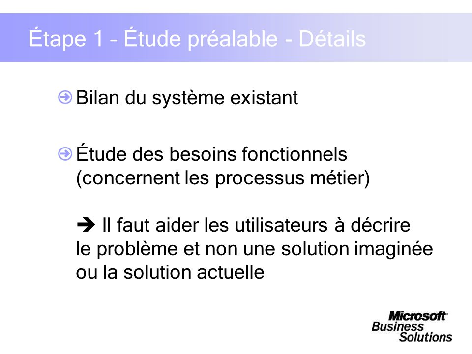 Étape 1 – Étude préalable - Détails Bilan du système existant Étude des besoins fonctionnels (concernent les processus métier) Il faut aider les utili