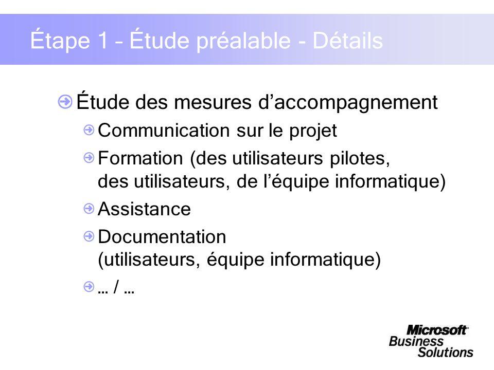 Étape 1 – Étude préalable - Détails Étude des mesures daccompagnement Communication sur le projet Formation (des utilisateurs pilotes, des utilisateur