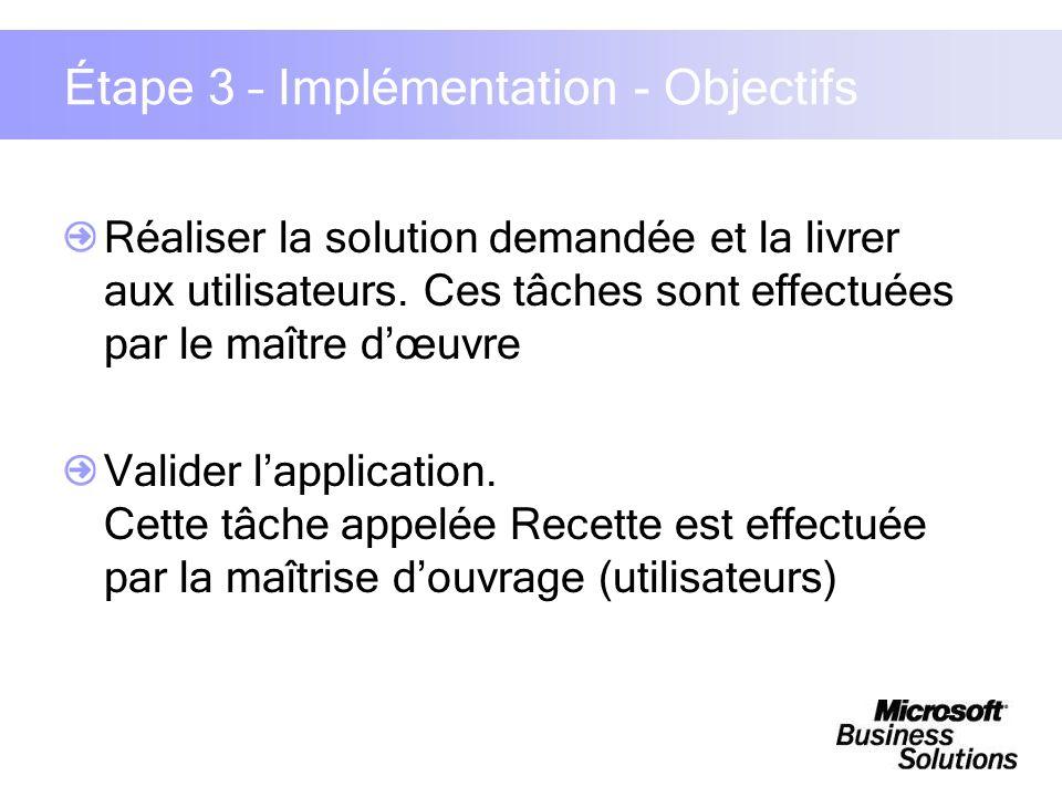 Étape 3 – Implémentation - Objectifs Réaliser la solution demandée et la livrer aux utilisateurs. Ces tâches sont effectuées par le maître dœuvre Vali