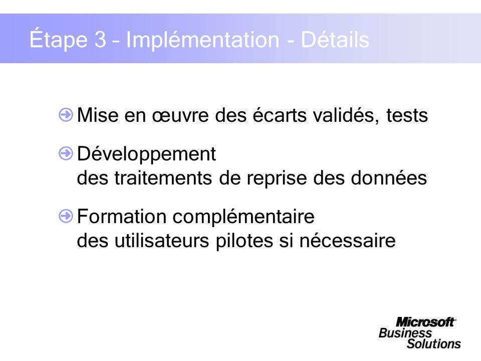 Étape 3 – Implémentation - Détails Mise en œuvre des écarts validés, tests Développement des traitements de reprise des données Formation complémentai