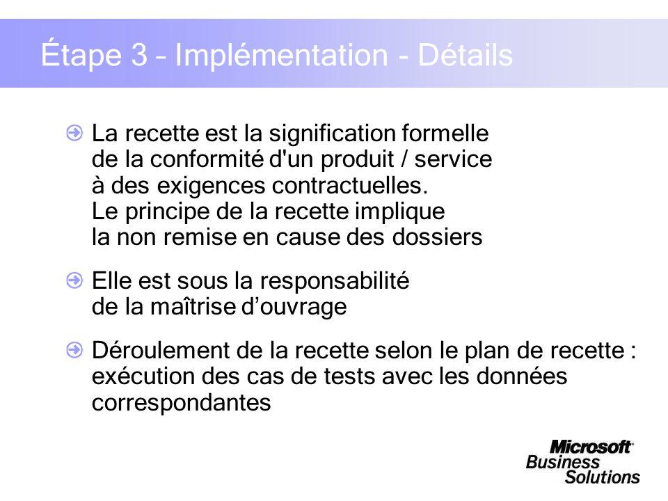 Étape 3 – Implémentation - Détails La recette est la signification formelle de la conformité d'un produit / service à des exigences contractuelles. Le
