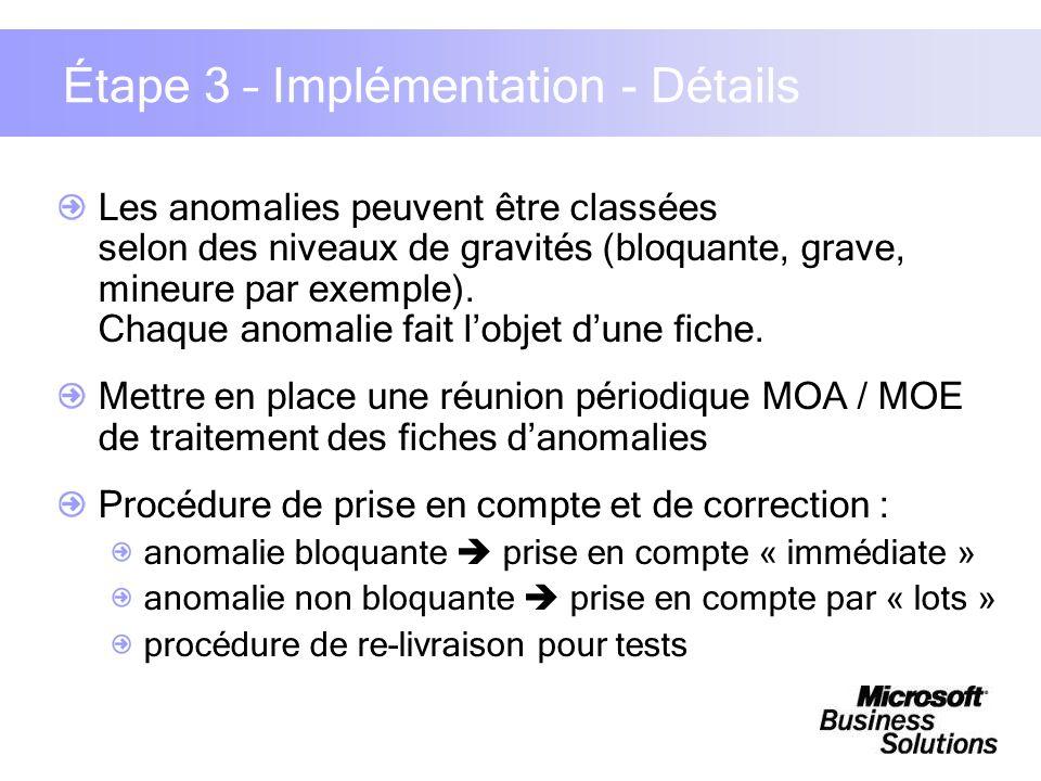 Étape 3 – Implémentation - Détails Les anomalies peuvent être classées selon des niveaux de gravités (bloquante, grave, mineure par exemple). Chaque a