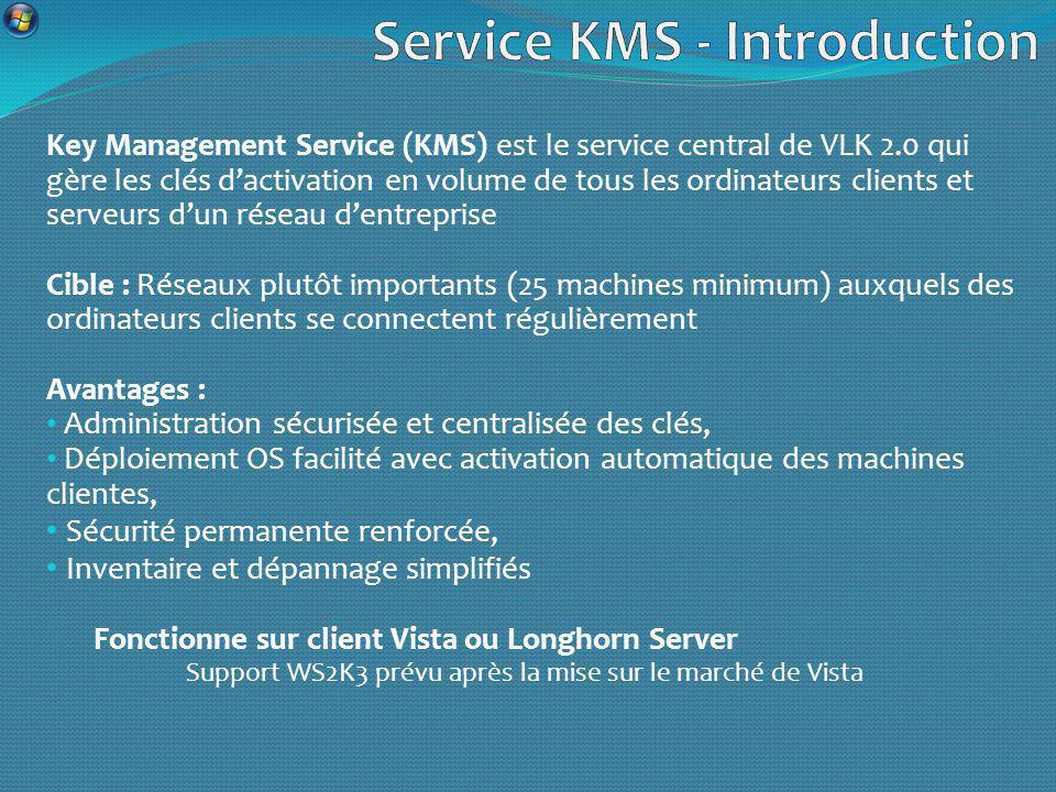 Key Management Service (KMS) est le service central de VLK 2.0 qui gère les clés dactivation en volume de tous les ordinateurs clients et serveurs dun