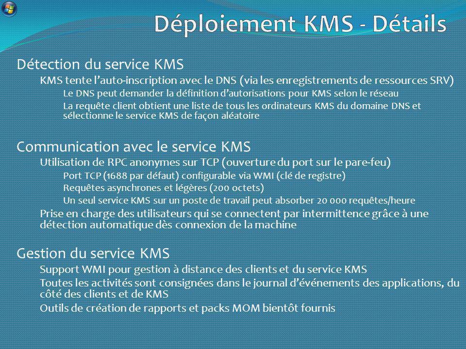 Détection du service KMS KMS tente lauto-inscription avec le DNS (via les enregistrements de ressources SRV) Le DNS peut demander la définition dautorisations pour KMS selon le réseau La requête client obtient une liste de tous les ordinateurs KMS du domaine DNS et sélectionne le service KMS de façon aléatoire Communication avec le service KMS Utilisation de RPC anonymes sur TCP (ouverture du port sur le pare-feu) Port TCP (1688 par défaut) configurable via WMI (clé de registre) Requêtes asynchrones et légères (200 octets) Un seul service KMS sur un poste de travail peut absorber 20 000 requêtes/heure Prise en charge des utilisateurs qui se connectent par intermittence grâce à une détection automatique dès connexion de la machine Gestion du service KMS Support WMI pour gestion à distance des clients et du service KMS Toutes les activités sont consignées dans le journal dévénements des applications, du côté des clients et de KMS Outils de création de rapports et packs MOM bientôt fournis