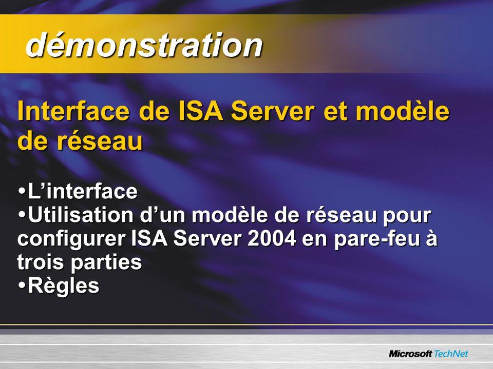 Interface de ISA Server et modèle de réseau Linterface Linterface Utilisation dun modèle de réseau pour configurer ISA Server 2004 en pare-feu à trois