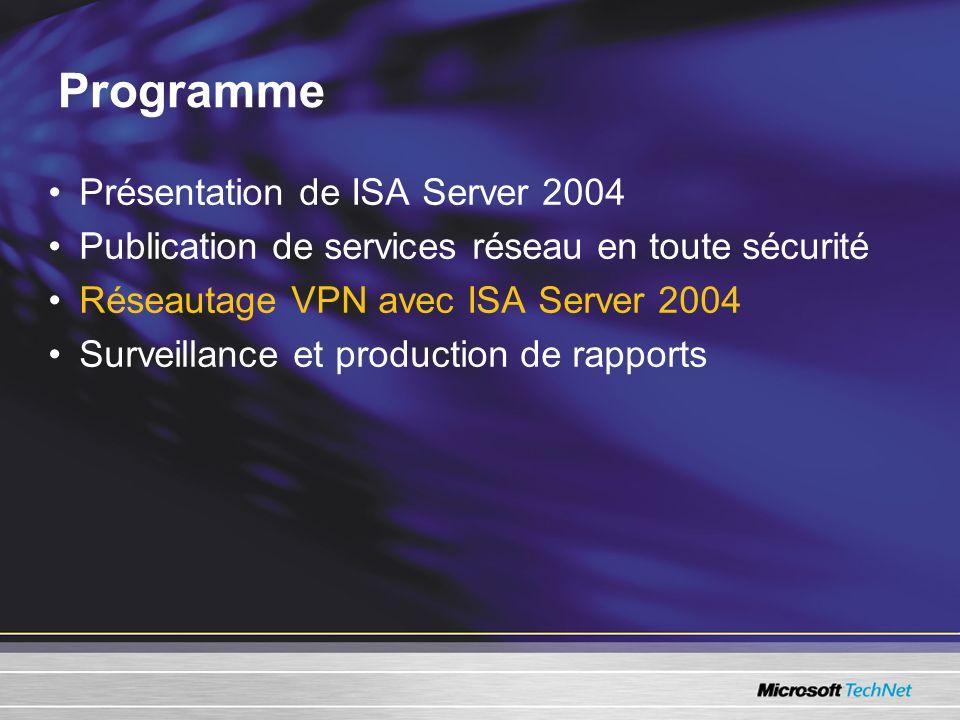 Présentation de ISA Server 2004 Publication de services réseau en toute sécurité Réseautage VPN avec ISA Server 2004 Surveillance et production de rap