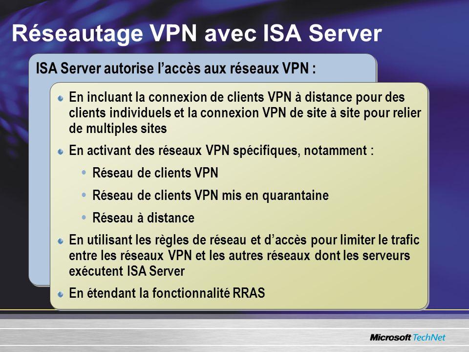 Réseautage VPN avec ISA Server ISA Server autorise laccès aux réseaux VPN : En incluant la connexion de clients VPN à distance pour des clients individuels et la connexion VPN de site à site pour relier de multiples sites En activant des réseaux VPN spécifiques, notamment : Réseau de clients VPN Réseau de clients VPN mis en quarantaine Réseau à distance En utilisant les règles de réseau et daccès pour limiter le trafic entre les réseaux VPN et les autres réseaux dont les serveurs exécutent ISA Server En étendant la fonctionnalité RRAS En incluant la connexion de clients VPN à distance pour des clients individuels et la connexion VPN de site à site pour relier de multiples sites En activant des réseaux VPN spécifiques, notamment : Réseau de clients VPN Réseau de clients VPN mis en quarantaine Réseau à distance En utilisant les règles de réseau et daccès pour limiter le trafic entre les réseaux VPN et les autres réseaux dont les serveurs exécutent ISA Server En étendant la fonctionnalité RRAS
