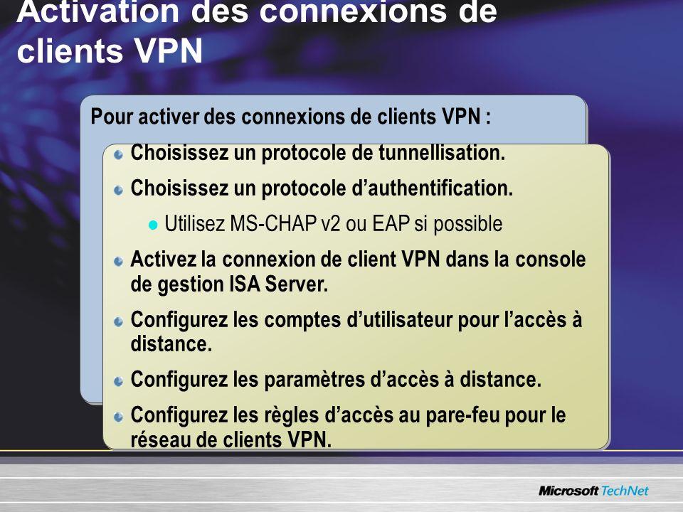Activation des connexions de clients VPN Pour activer des connexions de clients VPN : Choisissez un protocole de tunnellisation. Choisissez un protoco